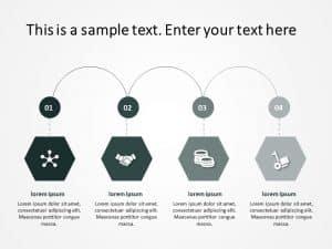 4 Steps Hexagon Process Flow PowerPoint