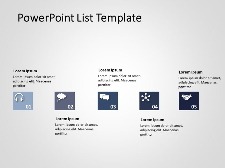 5 Steps Business Steps PowerPoint Template 1