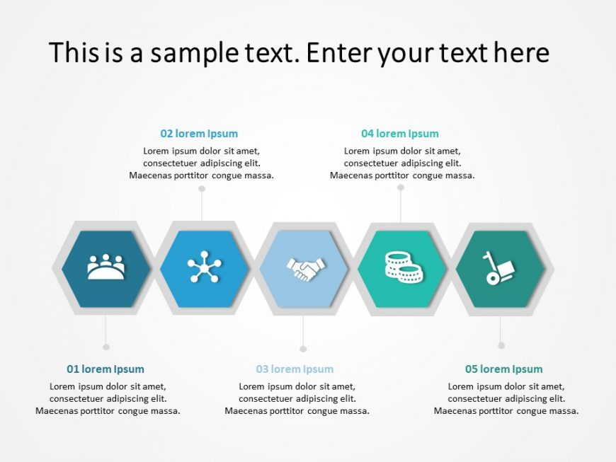 5 Steps Hexagon Business Steps PowerPoint