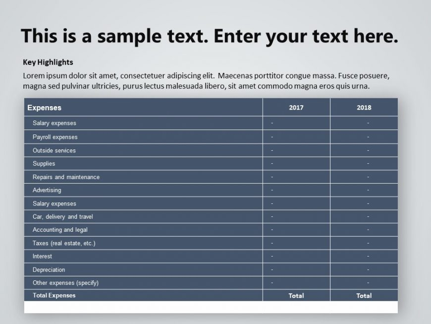 Expense Financial Analysis PowerPoint template