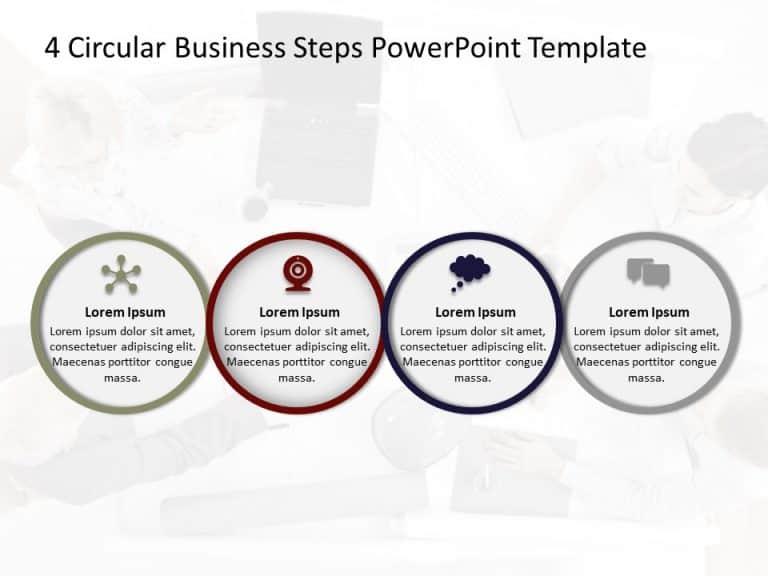 4 Circular Business Steps PowerPoint Template