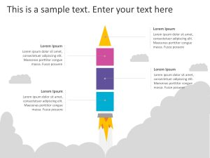 4 Steps Rocket Growth PowerPoint Template