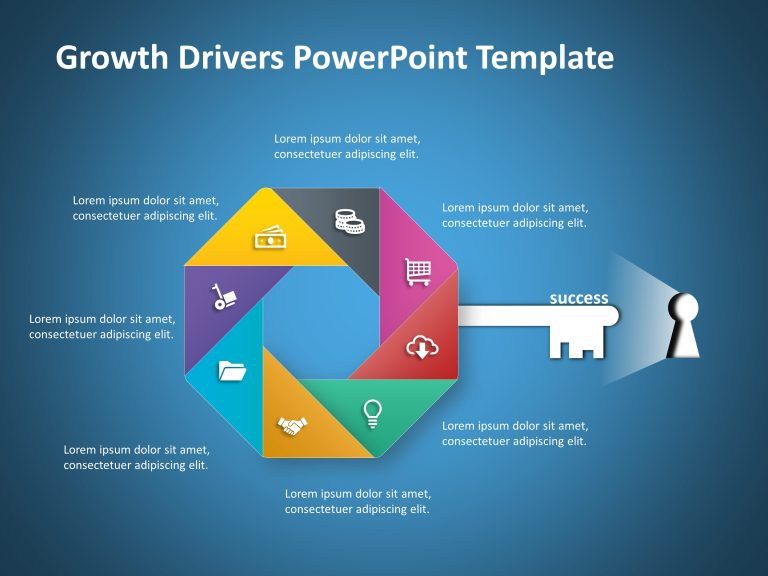 8 Steps Growth Driver PowerPoint Template