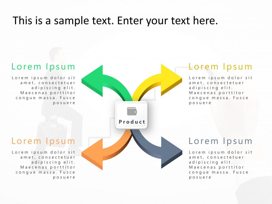 4 Steps Arrow Product Features PowerPoint Template 1