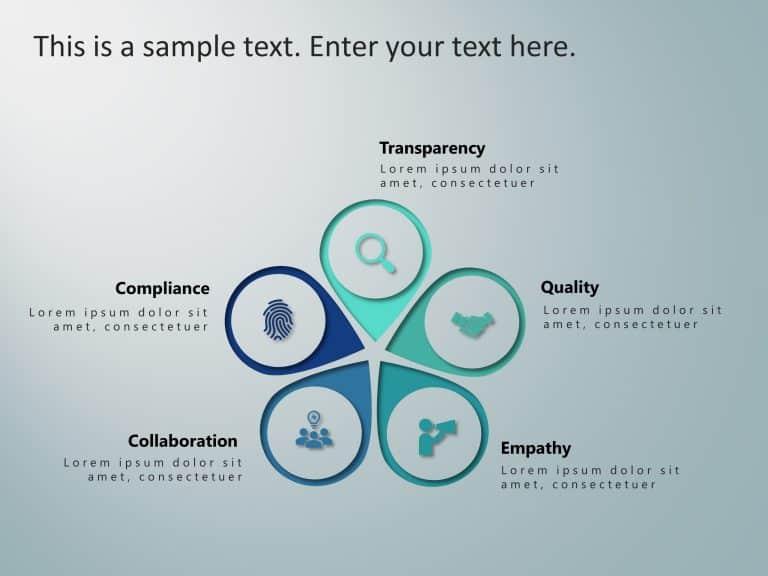 5 Steps Petal Values PowerPoint Template