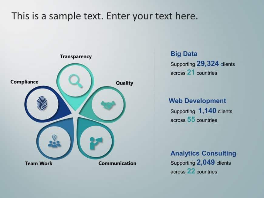 5 Steps Petal Company Profile PowerPoint Template