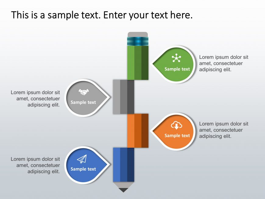 4 Steps Pencil Strategy PowerPoint Template