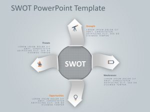 4 Steps Arrows SWOT PowerPoint