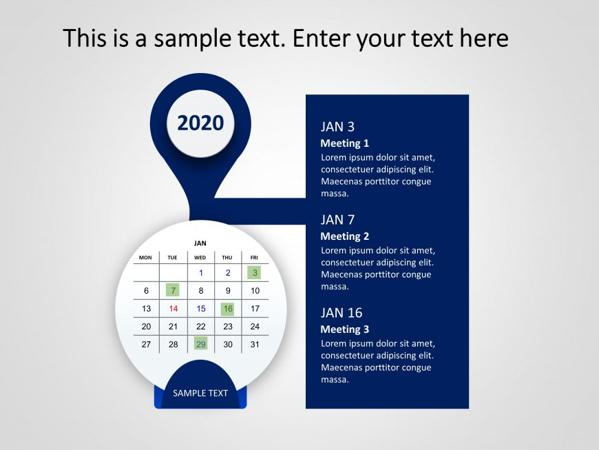 Calendar PowerPoint 2020 Round