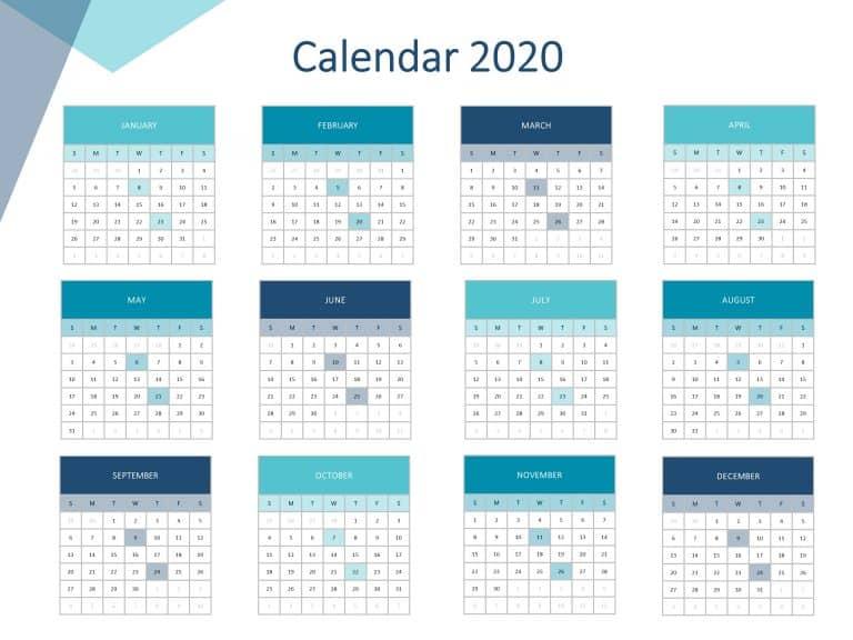 Calendar 2020 Summary PowerPoint