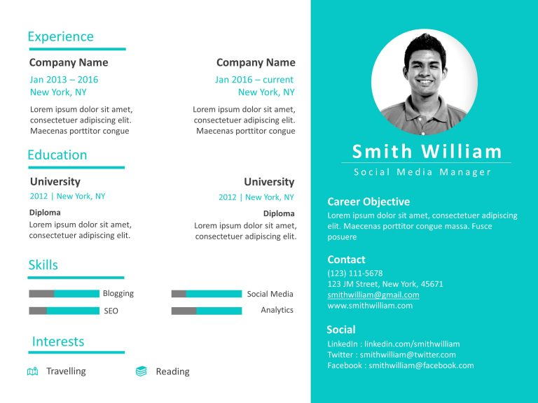 Resume PowerPoint Template Professional