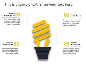 4 Steps Lamp Business Strategy PowerPoint Template