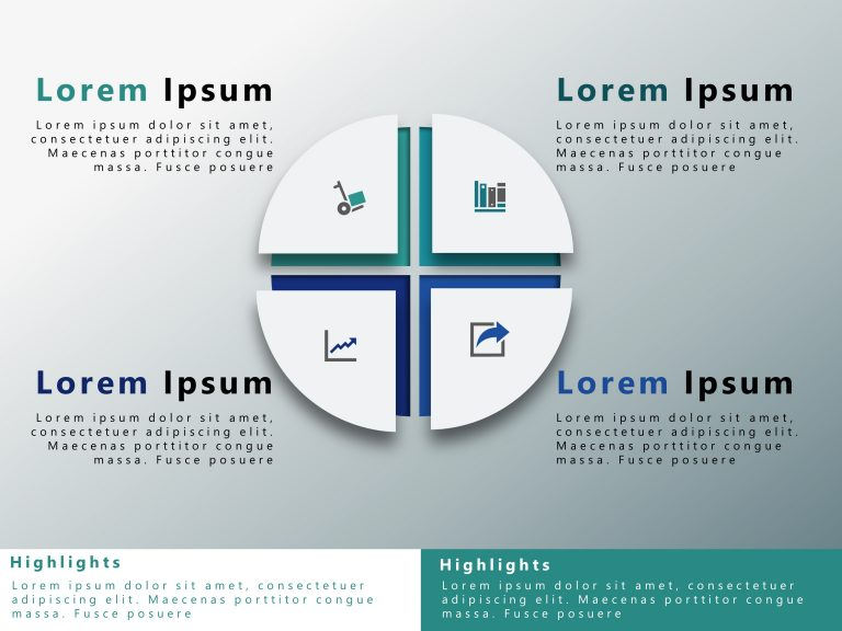 4 Steps Circle Strategy PowerPoint Template