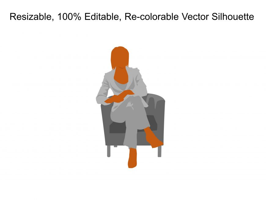 Business Woman Sitting Silhouette