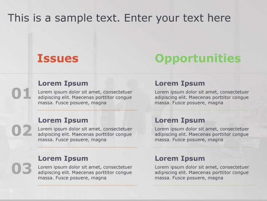 Issues Opportunities PowerPoint Template 98