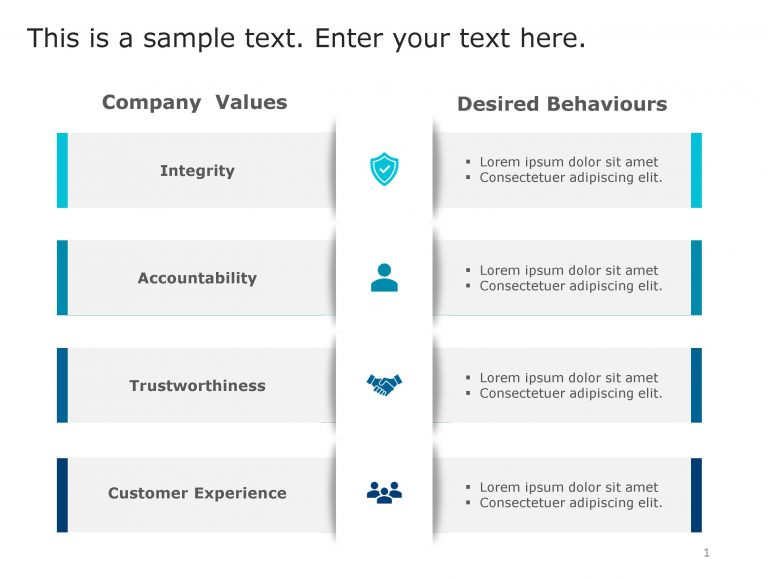Values Behaviours PowerPoint Template 107