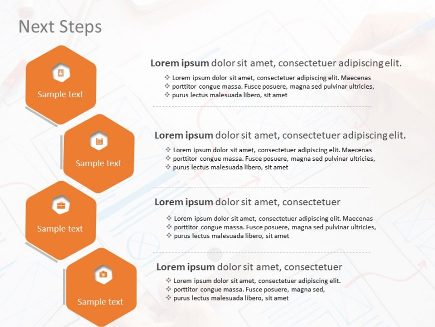 Next Steps Hexagon PowerPoint Template