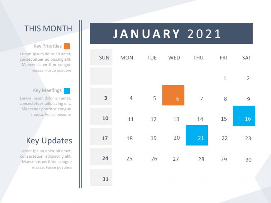 Calendar Template for PowerPoint 2021