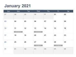Calendar PowerPoint Template 2021 Year
