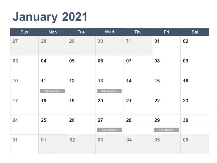 Calendar PowerPoint Template 2021 Year