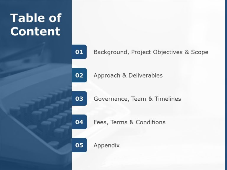 Table of Contents Template For PowerPoint