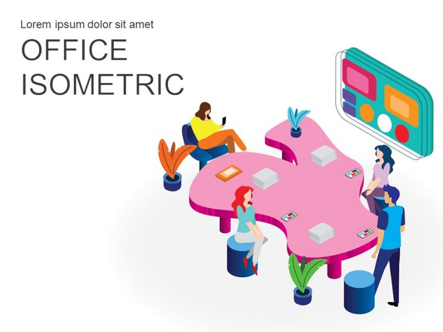 Office Working Isometric