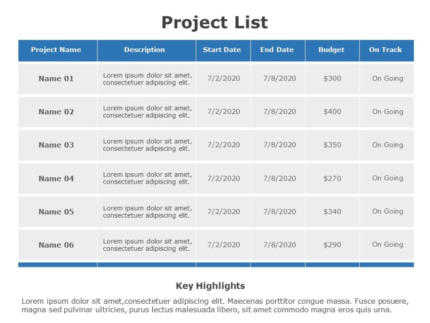 Project List 01
