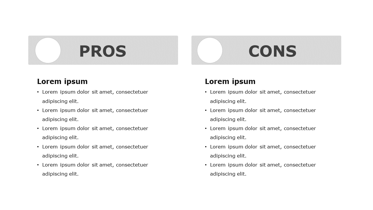 Steps to make a pros and cons slide