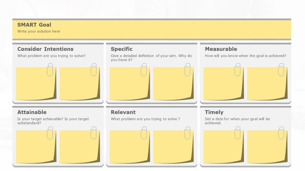 SMART Goal Sticky Notes Template