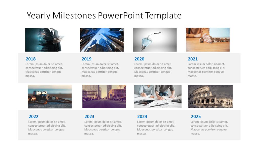 Yearly Milestones Timeline Slide