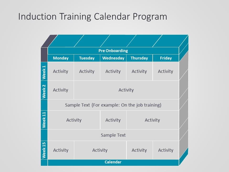 Induction Training Calendar Powerpoint Template Slideuplift