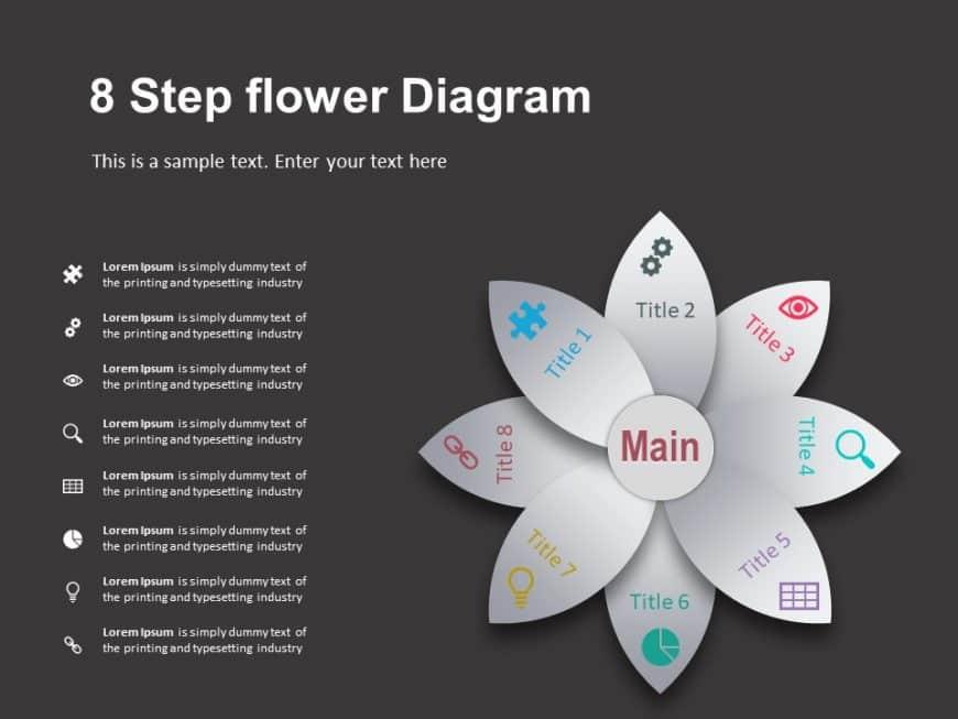 8 Steps Flower Diagram Template