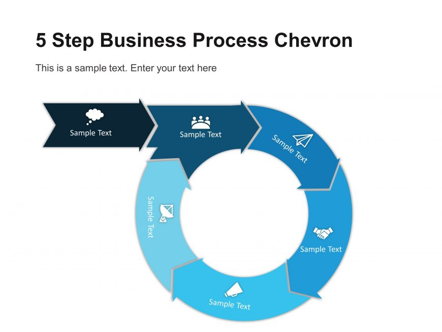 5 Step Business Process Chevron Diagram Template