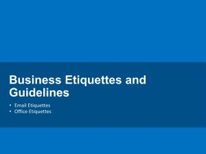 Business Etiquettes and Guidelines
