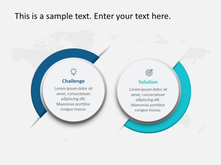 2 Steps Challenges and Solution PowerPoint Template