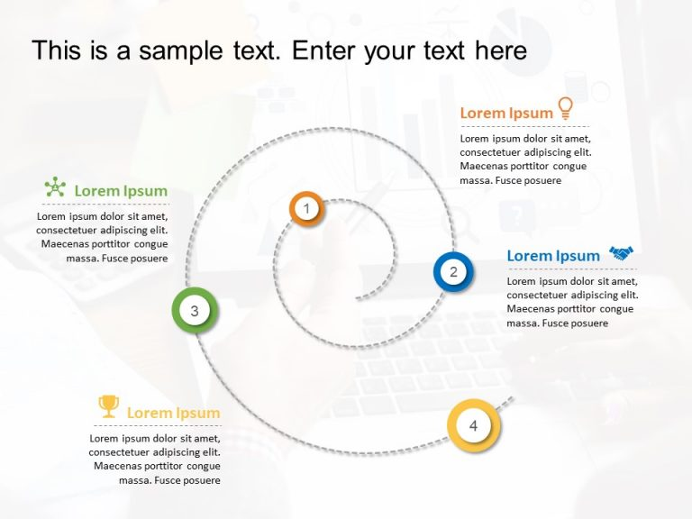 4 Steps Spiral PowerPoint Template