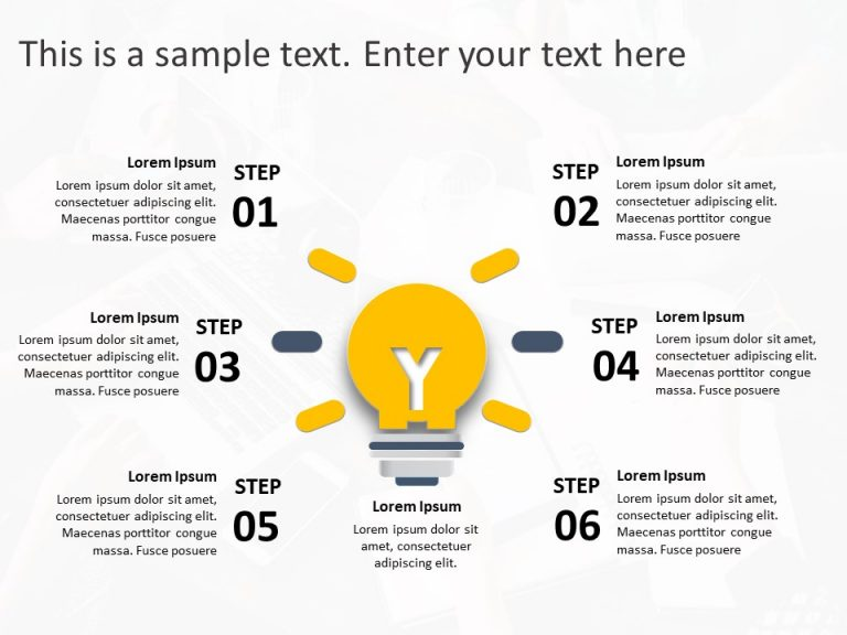 6 Steps Business Strategy PowerPoint Template