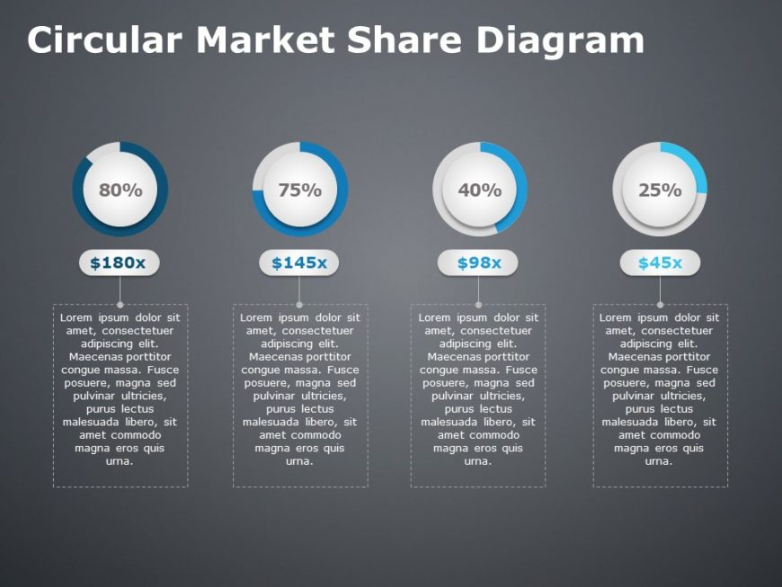 Circular Market Share Diagram For Powerpoint