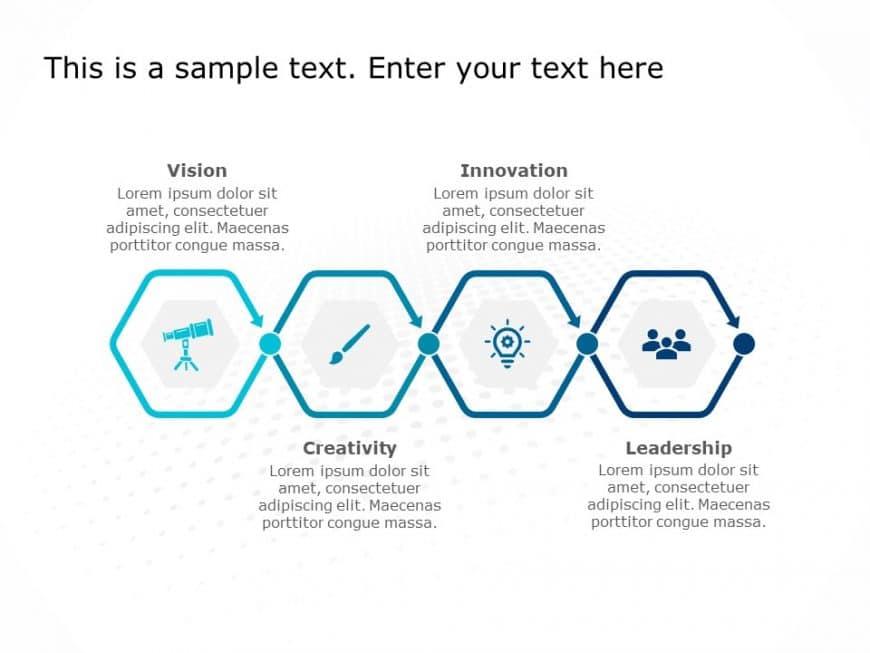 4 Steps Hexagon PowerPoint Template