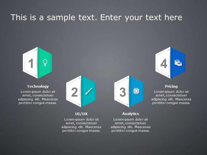 4 Steps Product Features PowerPoint Template 1