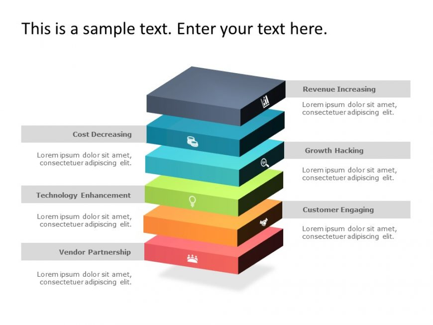 6 Cuboid Business Strategy PowerPoint Template