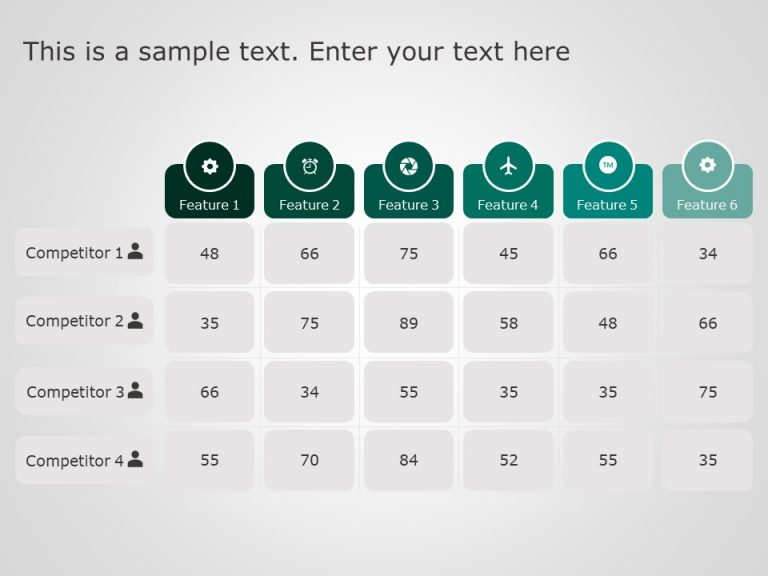 6 Numerical Comparison Table Powerpoint Template