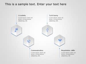 4 Steps Hexagon Core Competencies PowerPoint