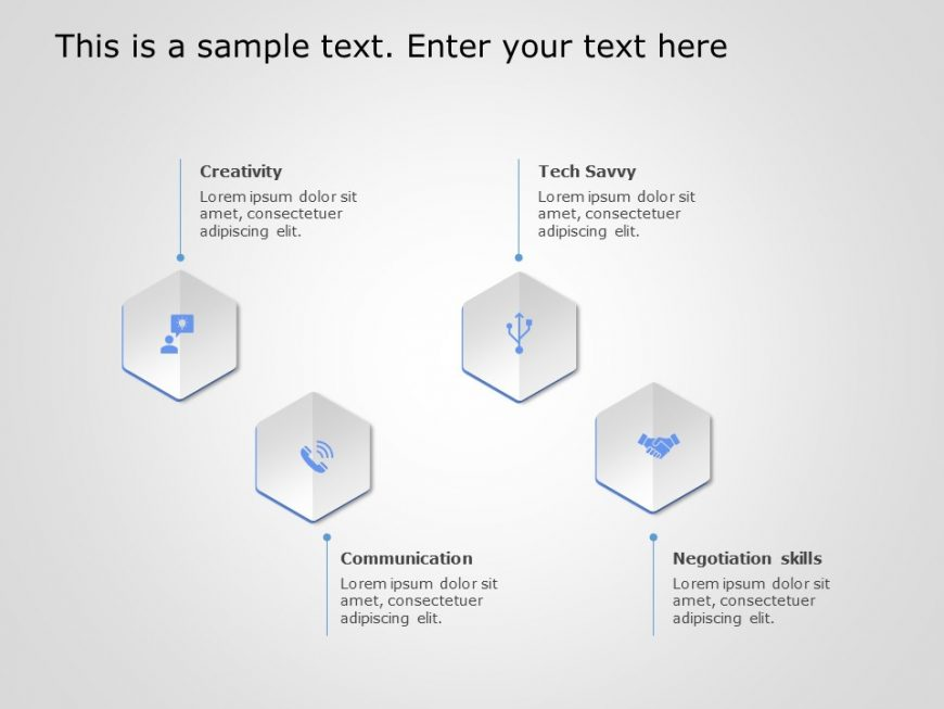 4 Steps Hexagon Core Competencies PowerPoint