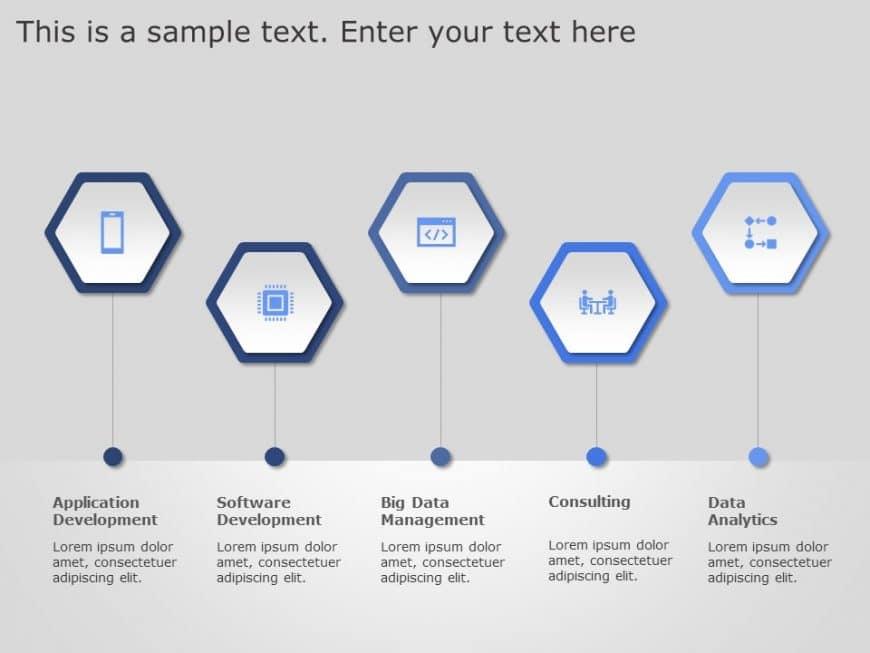 5 Steps Hexagon PowerPoint Template