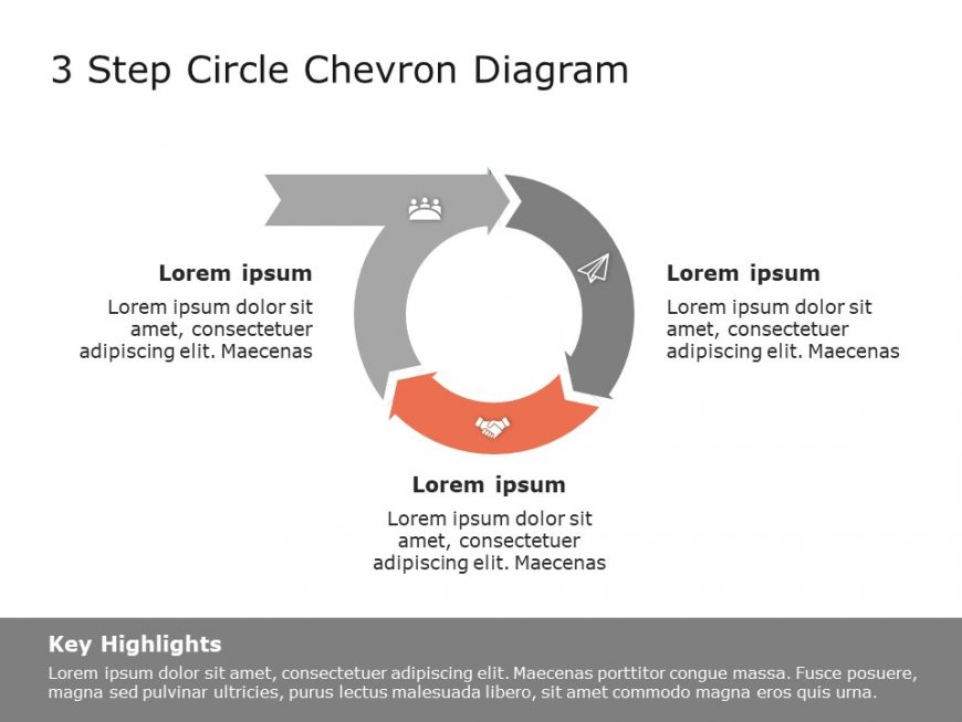 3 Step Circular Chevron Diagram Template