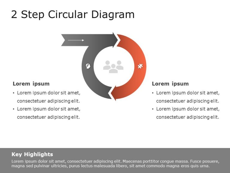 2 Step Circular Chevron Diagram Template