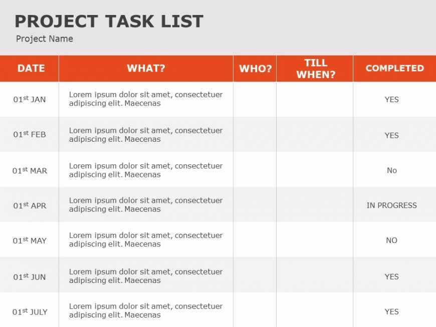 Project Task PowerPoint Template