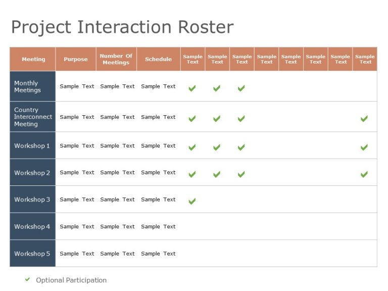 Project Interaction Roster Powerpoint Template