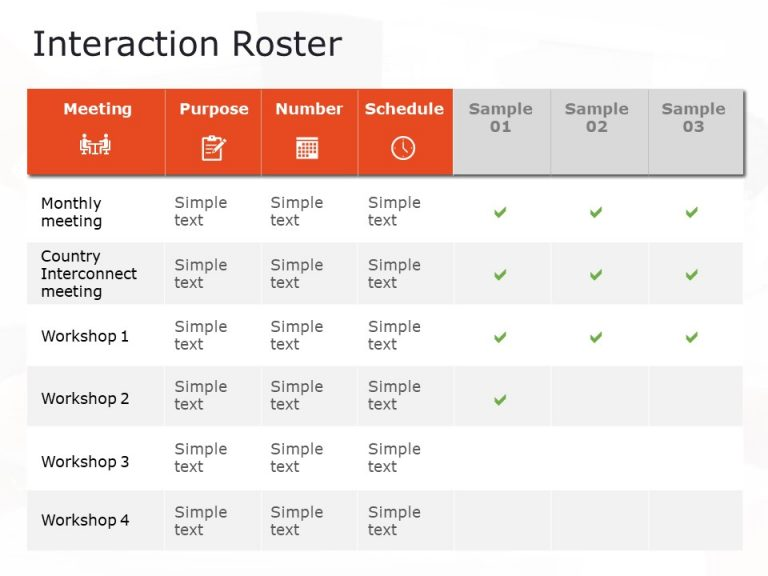 Interaction Roster Powerpoint Template